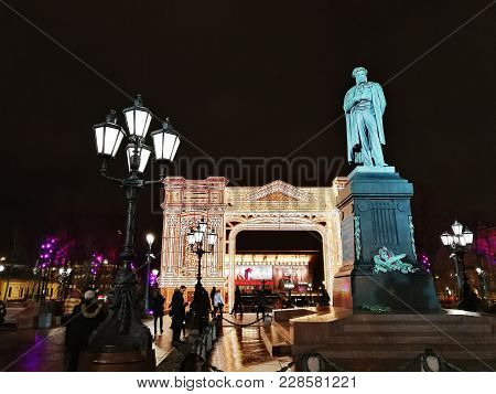 Moscow, Russia - Jan 03, 2018: Monument To Russian Poet Alexander Pushkin On Pushkin Square