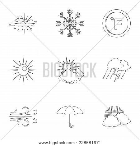 Weather Observations Icons Set. Outline Set Of 9 Weather Observations Vector Icons For Web Isolated