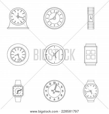 Chronograph Movement Icons Set. Outline Set Of 9 Chronograph Movement Vector Icons For Web Isolated