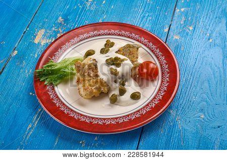 Baked Cod Piccata ,  Italian Dis Close Up.