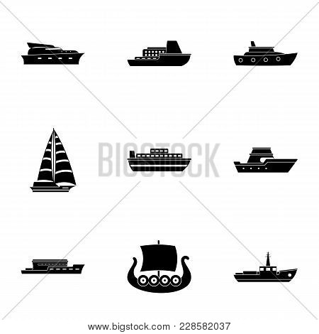 Nautical Boat Icons Set. Simple Set Of 9 Nautical Boat Vector Icons For Web Isolated On White Backgr