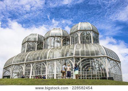 Curitiba, Pr, Brazil, December 30, 2017. Tourists In The Botanical Garden Of Curitiba, Officially De