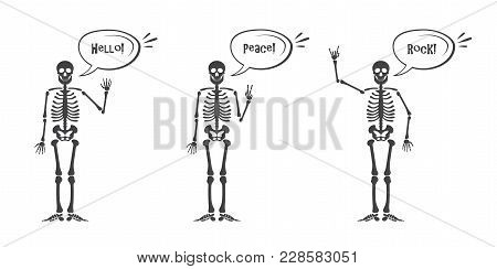 Skeleton Hand Gestures Set. Human Skeleton Posing Isolated On White Background Illustration