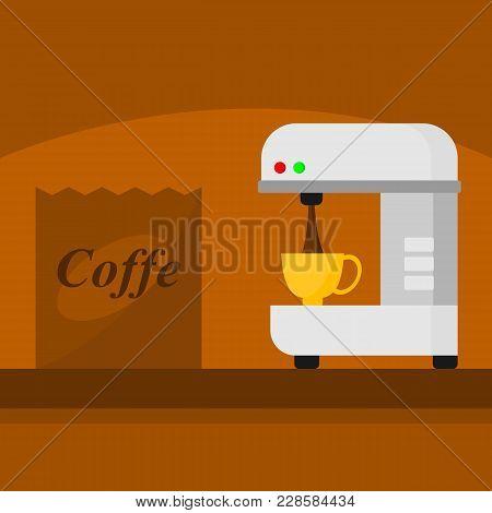 Coffee Maker Machine Home Appliances Scene Vector Illustration Graphic Design
