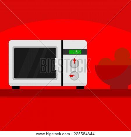 Microwave Kitchen Home Appliances Scene Vector Illustration Graphic Design