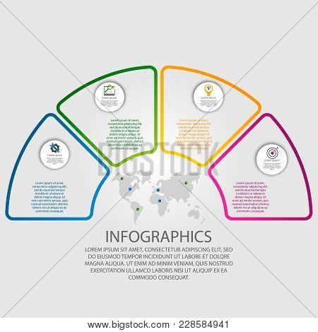 Vector Illustration. Infographics In The Form Of A Circle And 4 Segments With An Outline And No Fill
