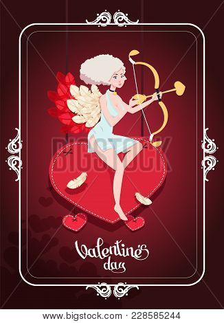 A Festive Greeting Card To The Day Of The Holy Valentine With A Cupid Girl And An Arrow. Vector Illu