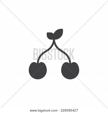 Cherries Vector Icon. Filled Flat Sign For Mobile Concept And Web Design. Cherry Simple Solid Icon.