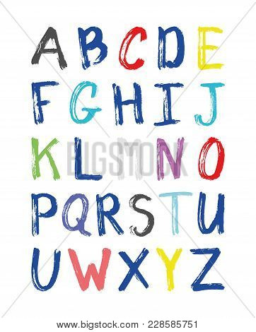 Vector Grunge Alphabet Isolated On White Background
