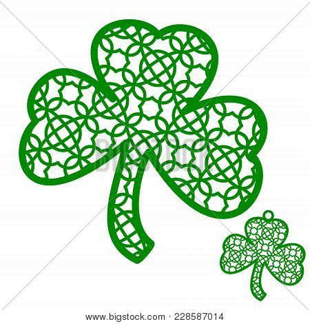 Vector Laser Cutting Element Ornamental Shamrock. Perfect For St Patrick's Day Decoration Or Wall De