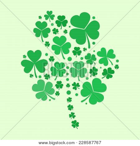 Shamrock Shape Made With Small Green Flat Shamrocks. Vector St Patricks Concept Illustration