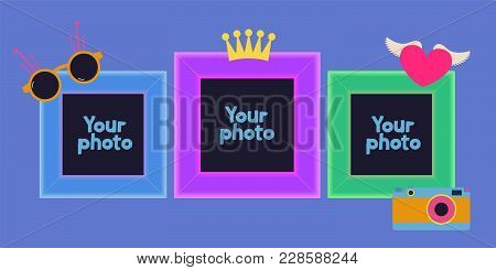 Collage Of Photo Frames Vector Illustration. Design With Hipster Style Elements And Template Frames