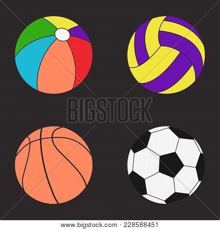 Balls Set. Color Beachball, Football, Soccer, Basketball, Volleyball - Vector