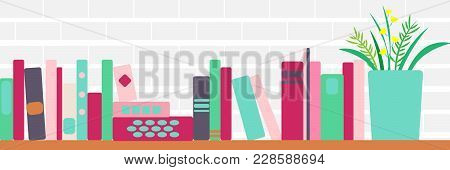 Vector Illustration Of Horizontal Banner Of Bookshelves With Retro Style Books And Flowers