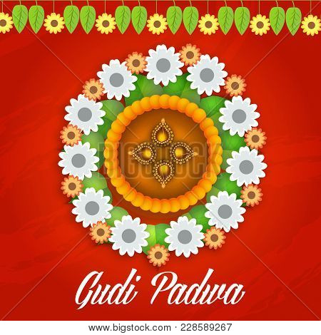 Illustration With Decorated Background Of Gudi Padwa Celebration Of India.