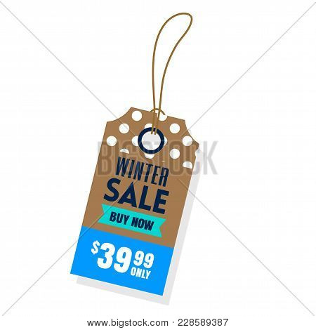 Price Tag Winter Sale Buy Now $39.99 Only Vector Image