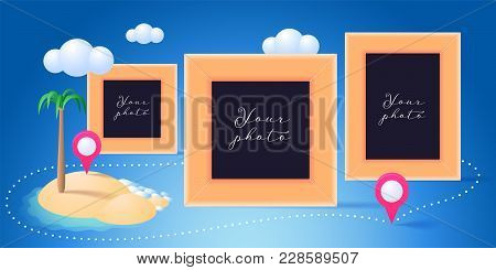 Collage Of Photo Frames Vector Illustration. Design Element Of Palm Beach And Blank Frames For Photo