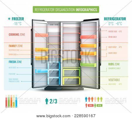 Refrigerator Organization Infographics With Information About Various Zones In Freezer And In Coolin