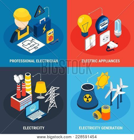 Four Electricity Isometric 3d Icon Set With Professional Electrician Electric Appliances And Electri