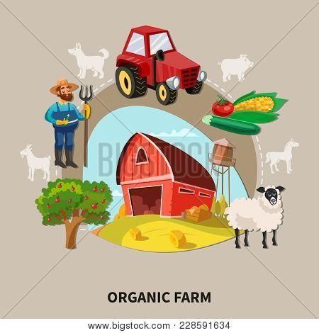 Farm Cartoon Composition Organic Farm Headline With Buildings Elements And Equipment Vector Illustra