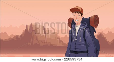 A Young Happy Man, Backpacker In Mountain Landscape. Hiker, Explorer. Vector Illustration With Copy