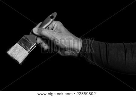 Paintbrush - Tools In A Man's Hand - Black And White Photo