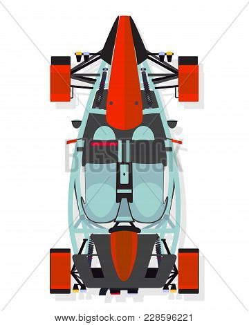 Red Sport Car, Buggy Top View In Flat Style Isolated On A White Background.