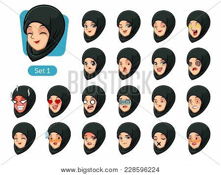 The First Set Of Muslim Woman Wearing A Black Hijab Cartoon Character Avatars With Different Facial