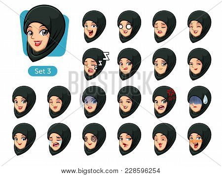 The Third Set Of Muslim Woman Wearing A Black Hijab Cartoon Character Avatars With Different Facial