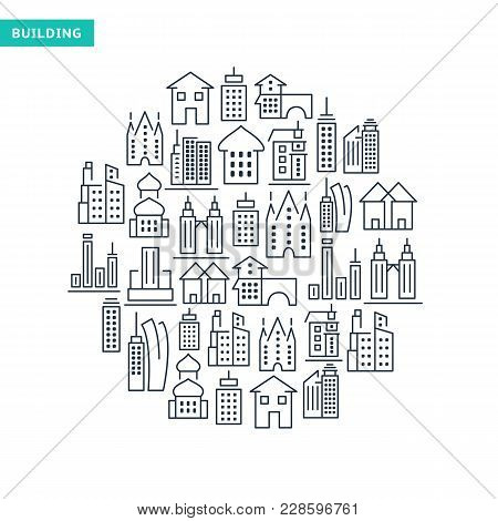 Buildings And Immovables Lined Icons Set In Round Shape On White Background Isolated Vector Illustra