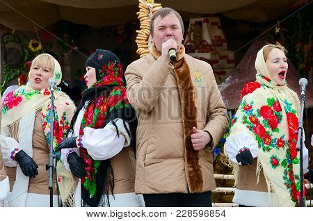 Gomel, Belarus - February 18, 2018: Performance Of Creative Collective During Shrovetide Festivities