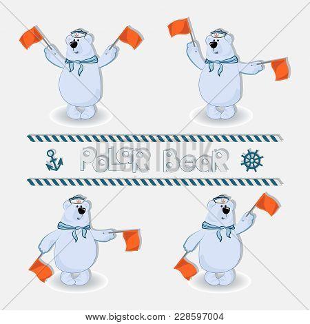 Polar Bear-sailors Signals Semaphore Flags. Set. Profession Sailors Long-distance Voyage .the Concep