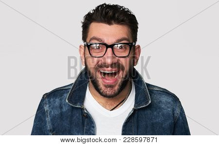 Cheerful Hipster Guy Smiles Happily