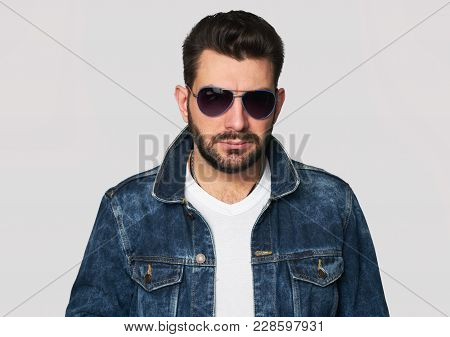 Handsome Young Bearded Man In Sunglasses