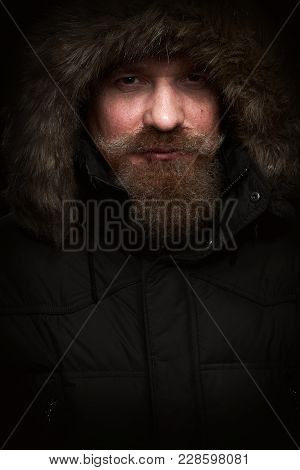 Man With Beard Bristles And Fur Hood