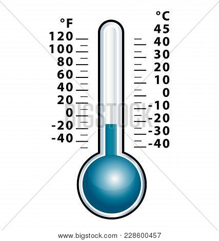Frozen Thermometer With Negative Temperature. Isolated Cold Vector Icon.