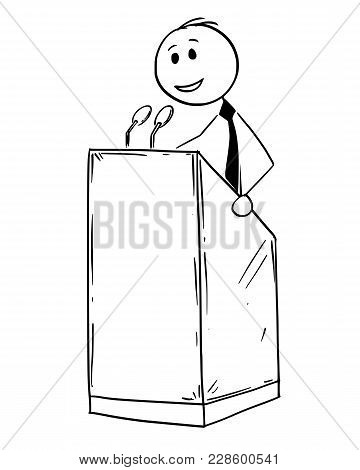 Cartoon Stick Man Drawing Conceptual Illustration Of Businessman Or Business Speaker Or Orator Makin