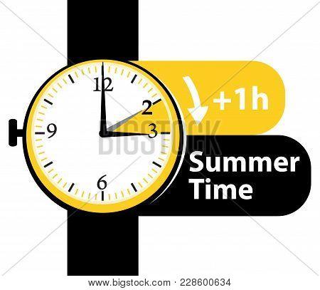 Summer Time. Daylight Saving Time. Spring Forward Alarm Clock Vector Icon.