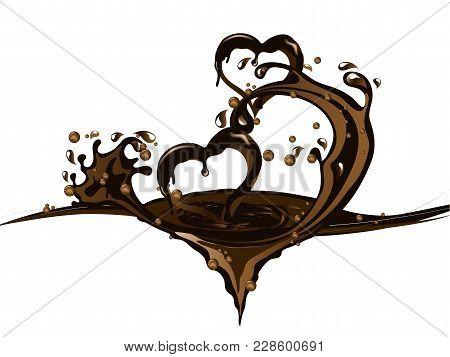Two Hearts  In Sweet Brown Chocolate Splash