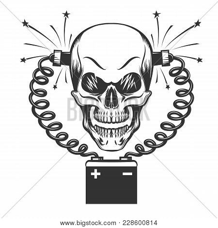 Smilling Skull Charging By Car Battery Drawn In Engraving Style. Vector Illustration.