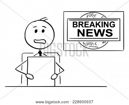 Cartoon Stick Man Drawing Illustration Of Tv Or Television News Reporter Or Presenter.