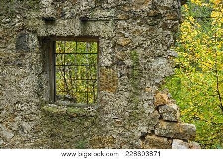 Ruinous Old Building - Window In Nature.