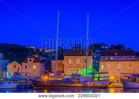 Seafront Night View At Trogir Town Coastline In Croatia, Dalmatia Region. Long Exposure.