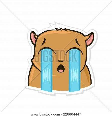 Sticker For Messenger With Funny Animal. Tearful Hamster. Vector Illustration, Isolated On White Bac