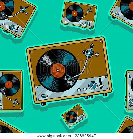 Record Player Turntable Device With Vinyl Record Pop Art Seamless Pattern Vector Illustration. Comic