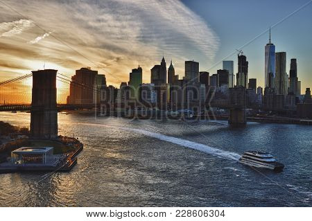 Hdr View Of The Sunset Over A Lower Manhattan.