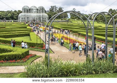 Curitiba, Pr, Brazil, December 30, 2017. Tourists In The Botanical Garden Of Curitiba, Officially De