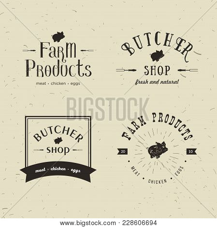 Set Of Retro Styled Butchery Logo Templates. Emblem Of Butchery Meat Shop With Pig Silhouette, Text