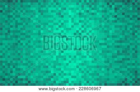 Turquoise Abstract Grunge Background - Illustration,  Mosaic Grunge Green Background,  Squares Of Li