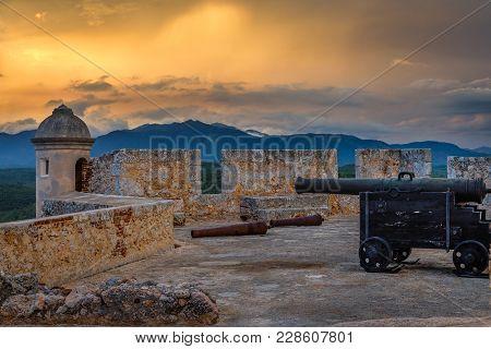 San Pedro De La Roca Fort Walls And Tower, Sunset View With Sea And Carribean Coastline, Santiago De
